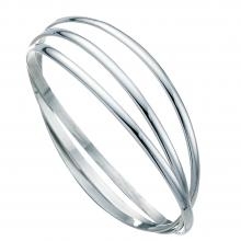 gbB189 (Sterling Silver Triple Curved Ring Bangle)