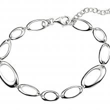 seB3453 (Sterling Silver Adjustable Oval Hoops Bracelet )