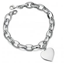 gbB4007 (Sterling Silver Engravable Heart Chain Bracelet)