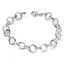 seB4397 (Sterling Silver Diamond Cut Rings Bracelet )