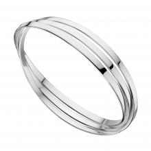gbB4587 (Sterling Silver Triple Ring Bangle)