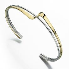 gbB4590 (Sterling Silver and Gold Plated Wave Bangle)