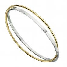 gbB4591 (Sterling Silver and Gold Plated Ring Bangle)