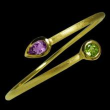 vzA315b (18K Gold Vermeil Bangle with Amethyst and Peridot)