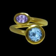 vzA331R (18K Gold Vermeil Ring with Tanzanite and Blue Topaz)