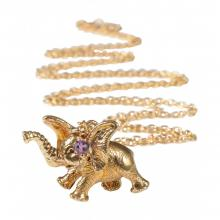 mbDumboNeck (Dumbo Elephant Pendant with Amethyst Necklace)