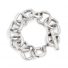 mtMJSLB (Chunky Sterling Silver Hammered Square Links Bracelet)