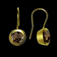 vzA188ED (Gold Round Earrings with Semi Precious Smokey Quartz Stone)