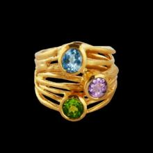 vzA351r (Gold Semi Precious Stone Ring.)
