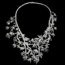 vzW100N (Silver Statement Bamboo Necklace)